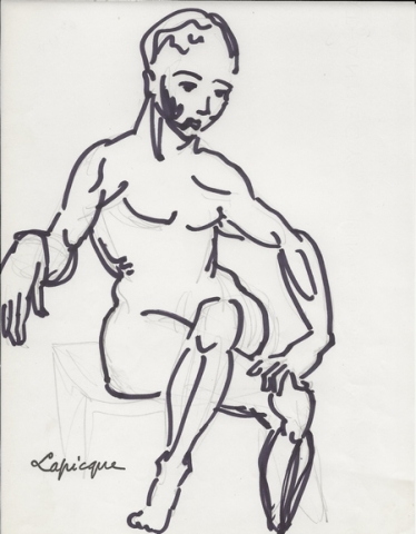 Charles Lapicque - Personnage assis - 1966